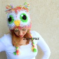 Women's Owl Hat with Earlaps- Owl Beanie Handmade- Fuzzy Pink Owl Hat