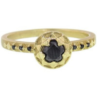 Megan Thorne Astra Solitaire Ring with Black Diamond - Yellow Gold