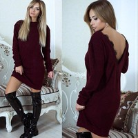New Backless Lace Long Sleeve Dress +Gift Necklace
