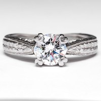 Diamond Solitaire Engagement Ring w/ Wheat Engravings Platinum