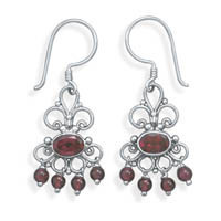 Scroll Design Earrings with Garnet on French Wire