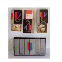 Vintage Mini Bookcase of Office/Photo Supplies by Dennison - Key Tags, Photo Corners, Address Labels - Old, Cute Set