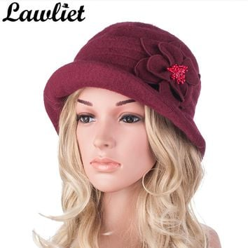 Winter Hat for Women Vintage Wool Beret Cap Middle Aged Women Beanies Hat Gatsby Style 1920s Ladies Cloche Church Hat Bonnet Cap