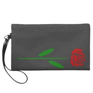 Single Art Deco Red Rose Green Leaves and Stem Wristlet Clutch