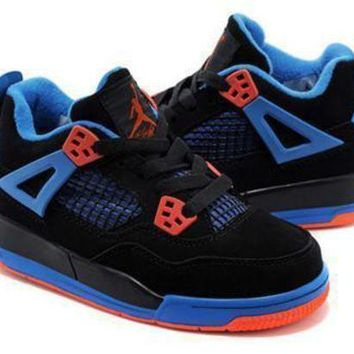 New Nike Air Jordan 4 Retro Kids Black Blue Orange Shoes