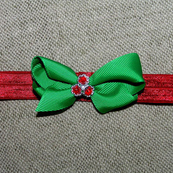 Christmas hair bow , red and green , mini bow , satin elastic red headband , infant Christmas headband , baby headband , toddler , 2.5 inch