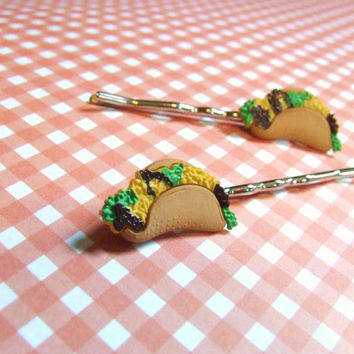 Taco Bobby Pins - Miniature Food Barrettes - Mexican Food - Plastic Food Hair Clips