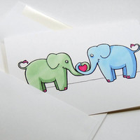 cute elephant print card illustration green and blue heart