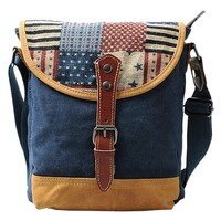 MapleClan American Flag Stars & Stripes Colorway Cut Print Canvas Messenger Bag