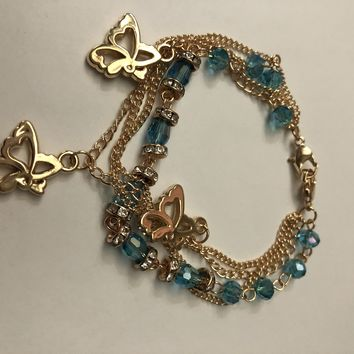 Fashion Jewelry Women Multi Charm Butterfly and Bead Charm Bracelet Adjustable
