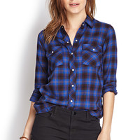 FOREVER 21 Snap-Button Flannel Shirt Blue/Mustard Large