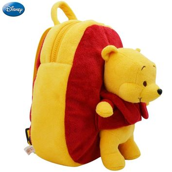 Genuine Disney Backpack Plush Cotton Stuffed Doll Winnie 27cm The Pooh Kawaii Kindergarten Schoolbag Christmas Gift Toy For Kid