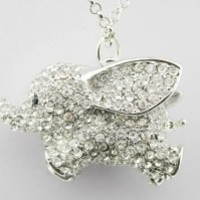 WIIPU New Comming Lovely Dumbo Big Ear Elephant Crystal Pendant Necklace(WIIPU-B160) (silver)