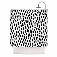 "Kess Original ""Ink Dots"" Black White Shower Curtain"