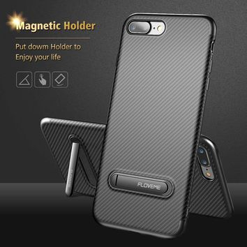 FLOVEME Luxury Stand Case For iPhone 7 6 6s Plus Cover Phone Holder Stand Carbon Fiber Ultra Thin Silicone Cases For iPhone 6 6s