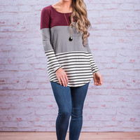 Happy Ever After Top, Wine-Gray
