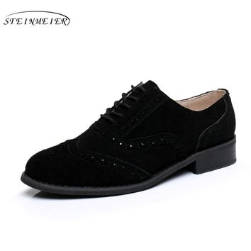 women flat leather oxford shoes for woman handmade flats black vintage big US 10 British style oxfords shoes for women fur