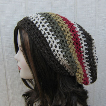 Slouchy beanie, Hemp Wool Tam, Hippie hat, Dread Tam, woman slouchy beanie, man slouch hat, hemp beanie, wool hat, striped slouchy hat, tam