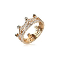 Women's Elegant Ring Gold Crown Zircon Ring