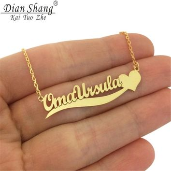 Trendy Handmade Custom Name Pendant With Heart Any Personalized Letter Choker Necklaces Women Men Engraved Best Friend Gift Idea