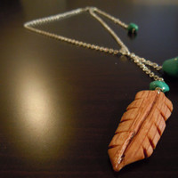 Wooden Feather Necklace Pendant with Turquoise 15 OFF by MissMacie