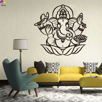 Ganesha Buddha Wall Sticker Living Room Bedroom India Om Yoga Mandala Hamsa elephant Wall Decal Vinyl Home Decor