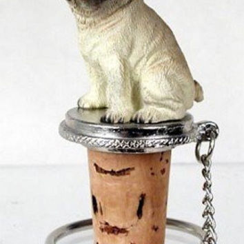 Wine Bottle Stopper - Pug (Brown/Tan) Decorative Cork - Hand Painted Dog