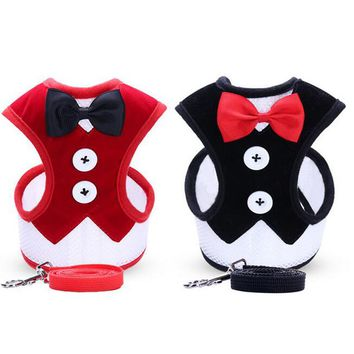 Dog Harness Teddy Vest Butterfly Bow Tie Evening Dress Pet Leash Collars Chest Back Chest Strap Pet Supplies