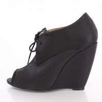 Black Perforated Wedge Booties Faux Leather