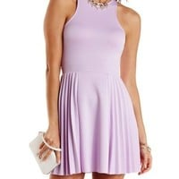 Racer Front Pleated Skater Dress by Charlotte Russe