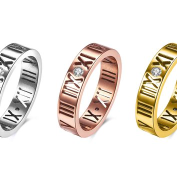 18K Gold Plated Swarovski Elements Roman Numeral Classic Ring