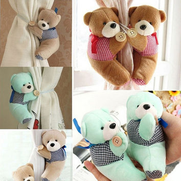 1pc Baby Kid Cartoon Bear Holder Nursery Bedroom Curtain Tieback Buckle Hook 3 Colors Hook Fastener Buckle Clamp ZQ889796