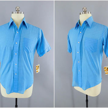 1960s Vintage Shirt / 60s Short Sleeve Summer Shirt / Brent Montgomery Ward / Casual Shirt / Country Club / Blue Plaid