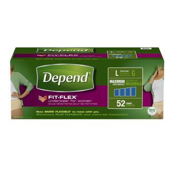 Depend FIT-FLEX Incontinence Underwear for Women, Maximum Absorbency, L, 52 Count
