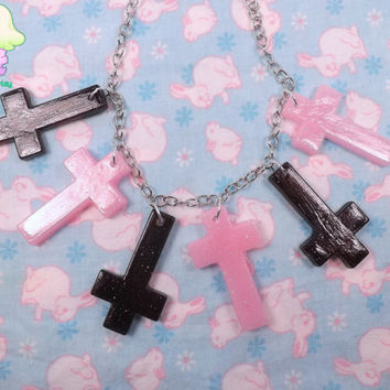 Pastel Goth Cross Necklace - Pink and Black