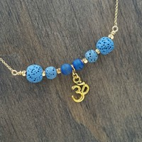 Blue Gold Aromatherapy Necklace Essential Oil Diffuser Necklace