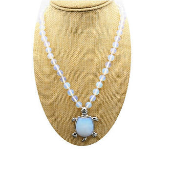 Opalite Turtle Pendant Necklace  , Silver Opalite Pendant  ,  Turtle Pendant , Opalite  Necklace  ,  Gift For her