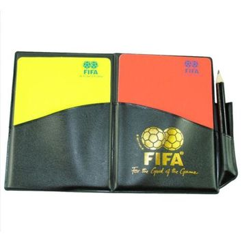 Football Soccer Referee Red Yellow Card PU Wallet