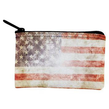 DCCK8UT 4th of July American Flag Star Spangled Banner Coin Purse