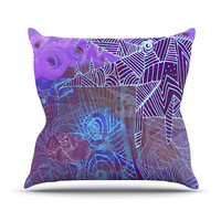 "Marianna Tankelevich ""Abstract With Wolf"" Purple Illustration Throw Pillow"