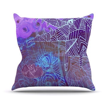 "Marianna Tankelevich ""Abstract With Wolf"" Purple Illustration Outdoor Throw Pillow"