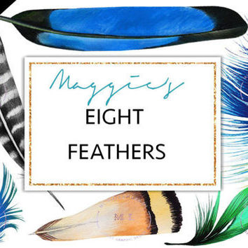 Feathers Clipart - Clip art - Blue Watercolor Feathers - Peacock Feathers, Handpainted Feather clip art, Digital Feathes Watercolor PNG