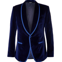 Dolce & Gabbana - Blue Slim-Fit Satin-Trimmed Velvet Tuxedo Jacket | MR PORTER