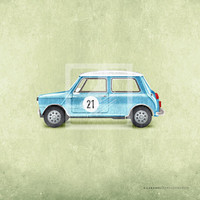 Classic Vintage Style Blue Mini Cooper Car Wall Art Print by Caramel Expressions