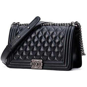 SanMario Designer Handbag Lambskin Classic Quilted Flap Metal Chain Women's Crossbody Shoulder Bag Purse