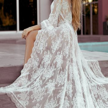 Lace Maternity cover up Gown Robe  Long Gown Robe Photo Prop - CCO48