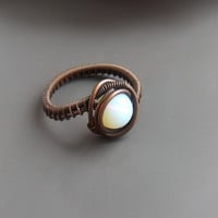 Opalite statement ring, glass ring, opalite white bead jewelry, copper ring