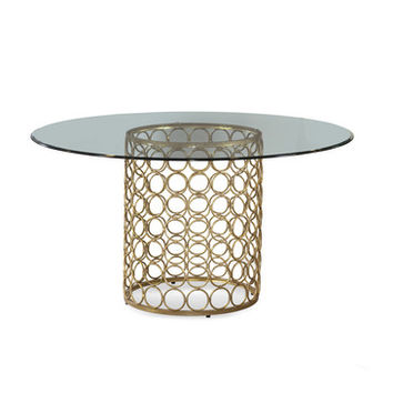 Bassett Mirror Carnaby 54 Inch Round Glass Top Dining Table