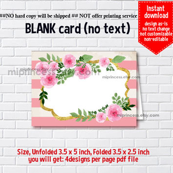 Instant Download, blank Card,  watercolor floral #205, food tent Card, place card, 3.5x2.5inch printable , non-editable NOT CUSTOMIZABLE