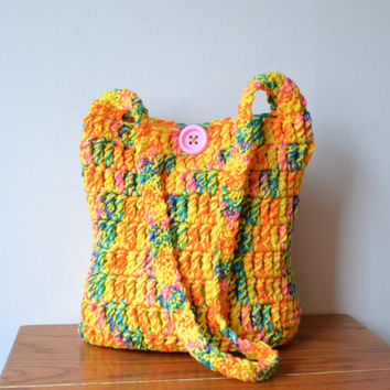 Rainbow Crochet Hobo Bag, Boho Bag, Neon, Bright, Colorful, Sling Bag, Hippie Purse